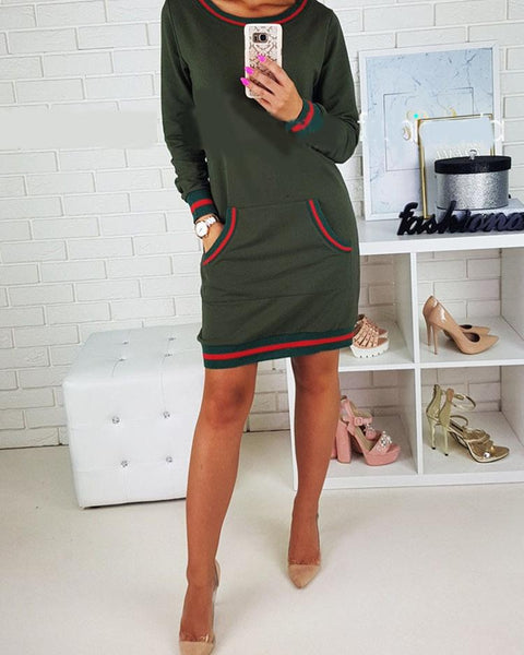 Stripes Detail Pocket Long Sleeve Casual Dress