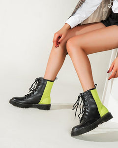 Color Block Round-toe Lace-up Martin Boots