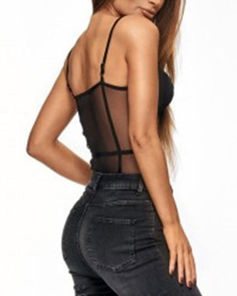 Solid Mesh Patchwork Strap Skinny See-throught Bodysuit