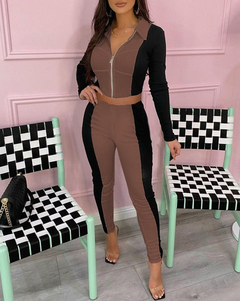 Colorblock Zipper Design Long Sleeve Crop Top & Pants Set