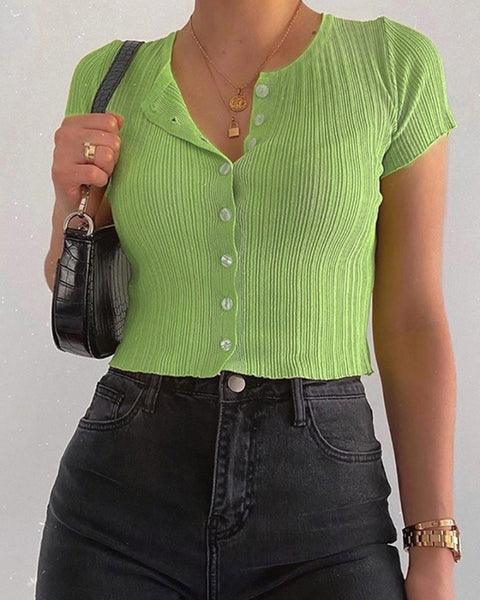 Solid Color Buttons Short Sleeve Cropped T-shirt