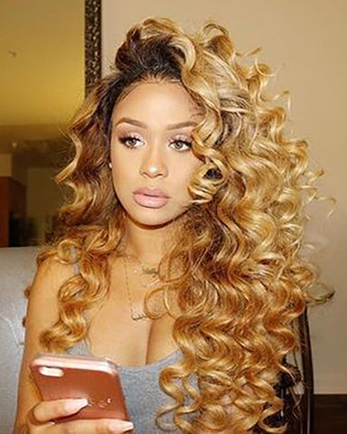 Ombre Brown Blonde Indian Virgin Hair Double Wefts