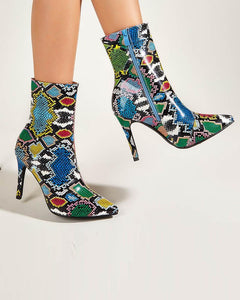 Multicolor Snakeskin Pointed-toe Ankle Boots
