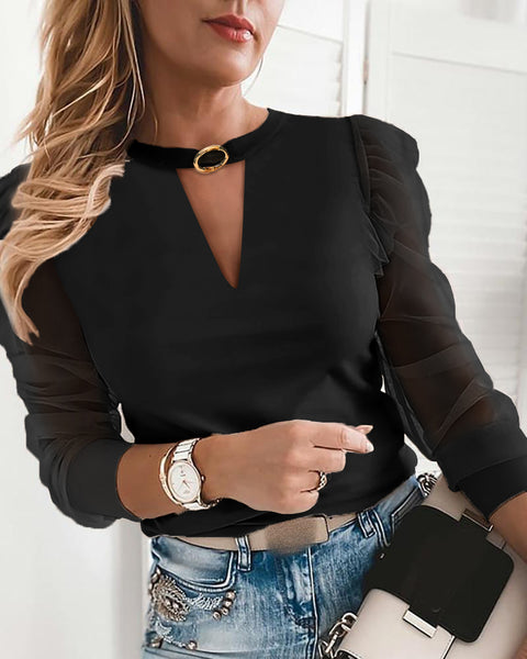Cutout Front O-Ring Mesh Puffed Sleeve Top