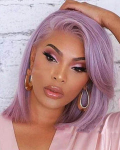 Synthetic Wig Straight Asymmetrical Wig Long Light Purple Synthetic Hair