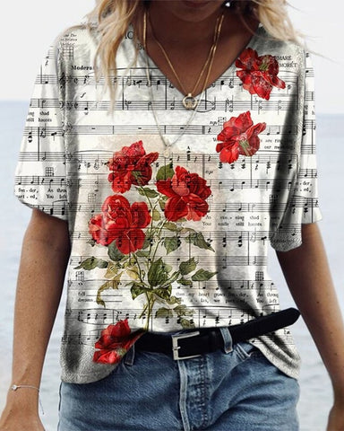 Sheet Music Rose Print Short Sleeve T-shirt