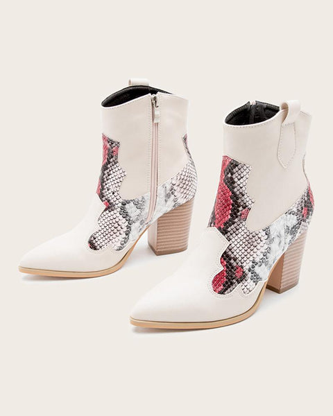 Pointed-toe Splicing Multicolor Snakeskin High Heel Boots