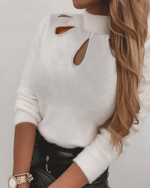 Plain Hollow Out Fluffy Long Sleeve Sweater
