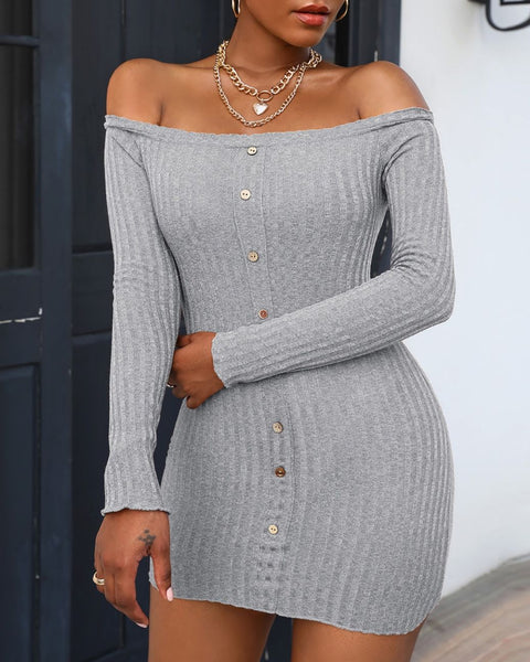 Button Design Off Shoulder Knit Bodycon Dress