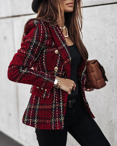 Plaid Printing Long Sleeve Coat