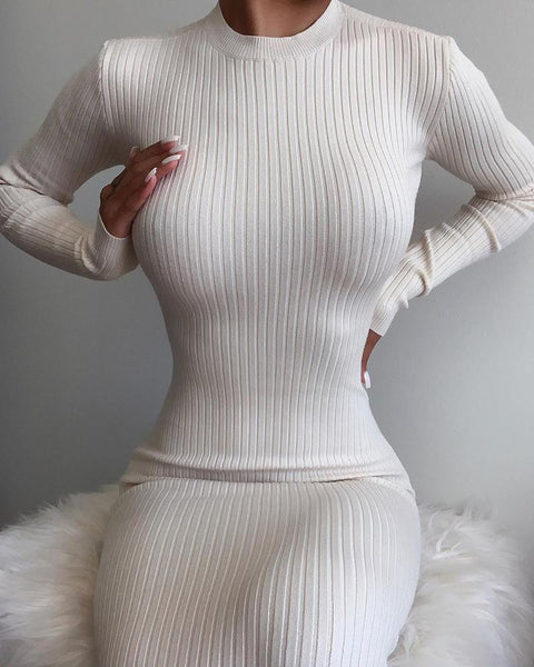Plain Ribbed Backless Long Sleeve Maxi Dress