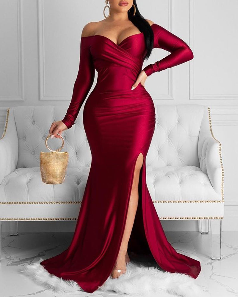 Off Shoulder Ruched Slit Evening Dress