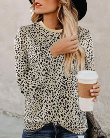 Animal Print Long Sleeve Blouse