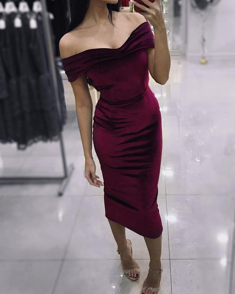 Velvet Off Shoulder Bodycon Dress