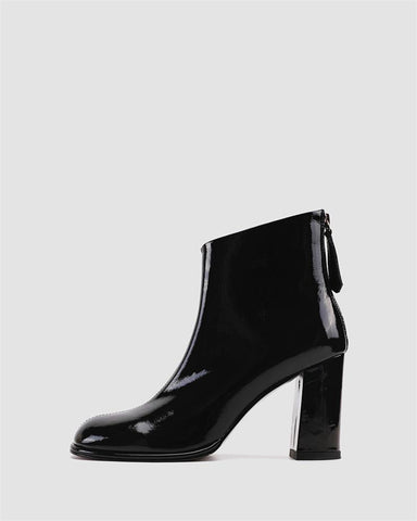 Solid Patent Leather Block Heel Round-toe Ankle Boots