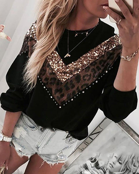 Leopard Sequin Splicing Long Sleeve Loose Sweatshirts