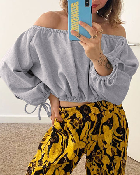 Solid Color Puff Sleeve Cropped Blouse