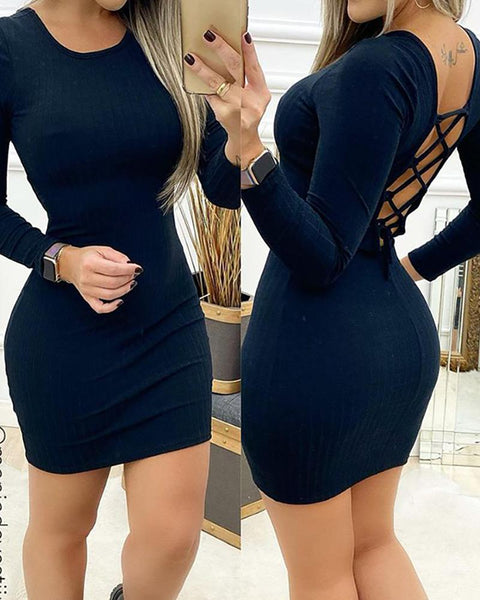 Plain Cutout Lace-up Backless Bodycon Dress