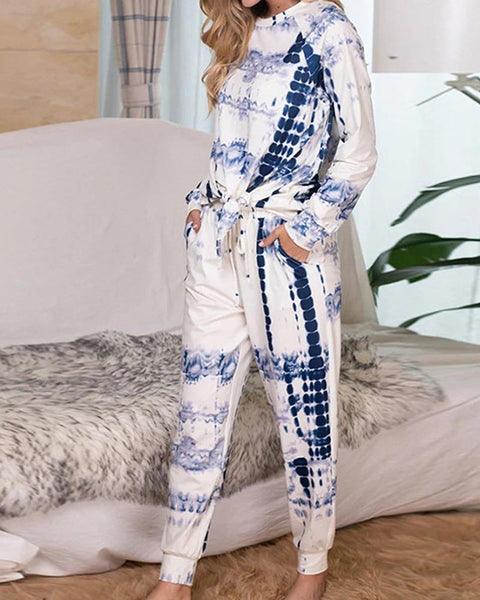 Tie Dye Long Sleeve Pajamas Sets