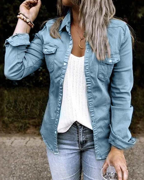 Solid Color Long Sleeve Jean Jacket