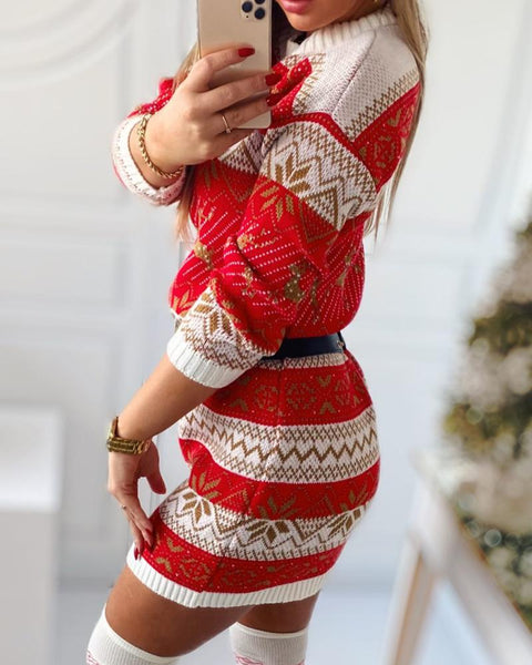 Christmas Mixed Print Long Sleeve Sweater Dress