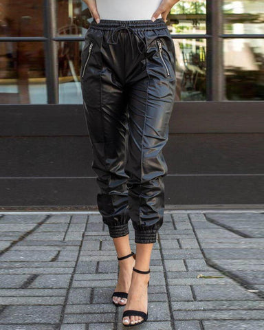 Ruched High Waist PU Leather Cuffed Pants