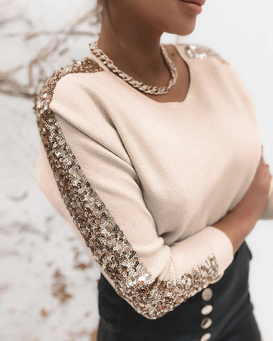 Sequins Long Sleeve Knit Sweater
