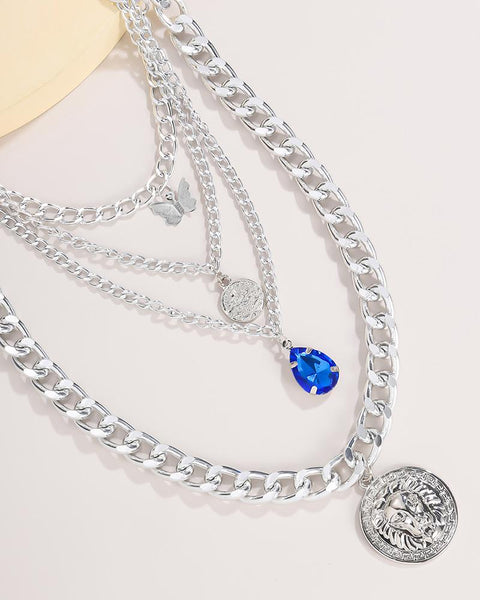Rinestone & Coin Decor Chain Layered Pendant Necklace