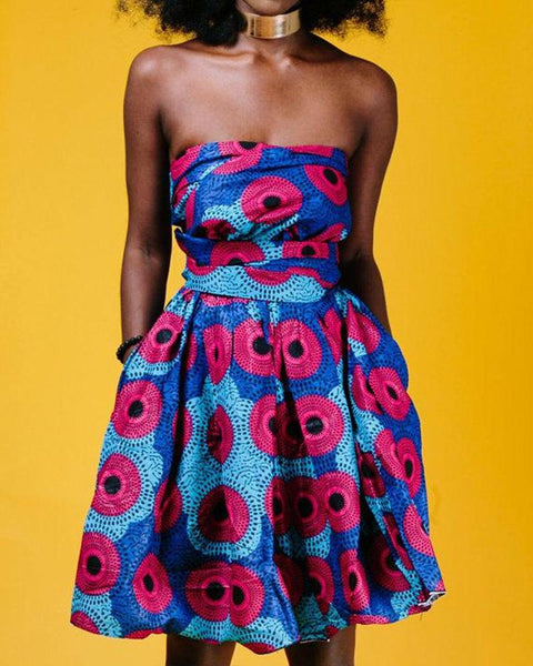 Printing With Bowknot Sleeveless A-line Dress
