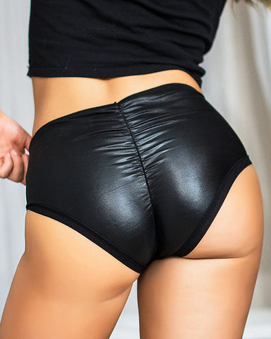 PU Leather High Waist Plain Skinny Panty