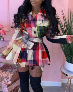 Multicolor Paid Long Sleeve Lace-up Mini Dress