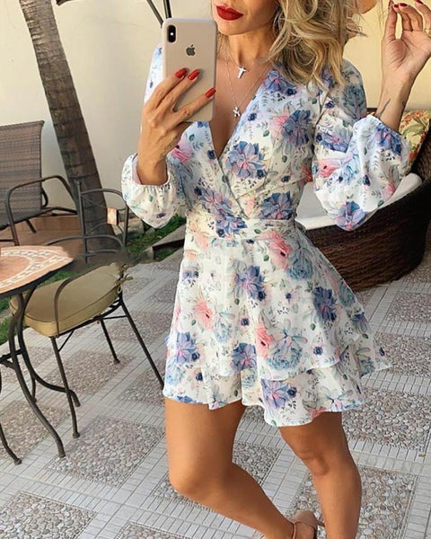 Floral Long Sleeve Lae-up Waist Dress