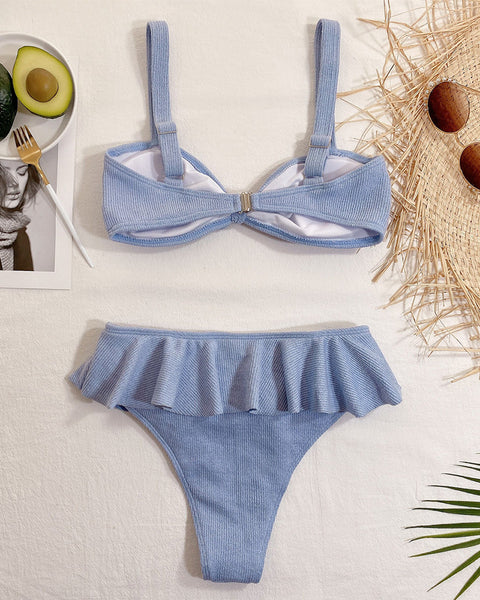 Knotted Design Ruffles Hem Bikini Set