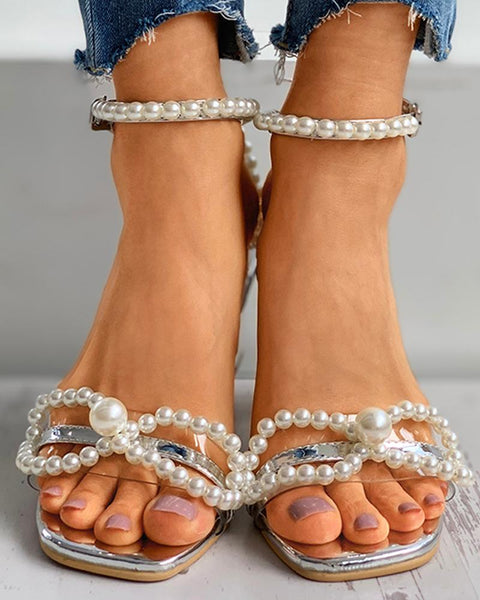 Beaded Clear Perspex Chunky Heels