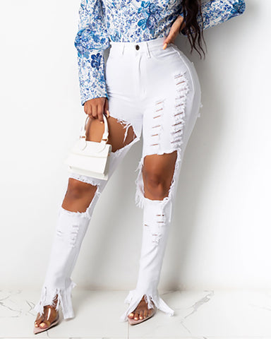 Ladder Cutout Fringe Hem Distressed Jeans