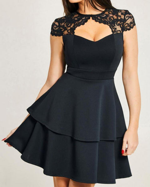 Lace Cut Out Front Layered Ruffles Dress