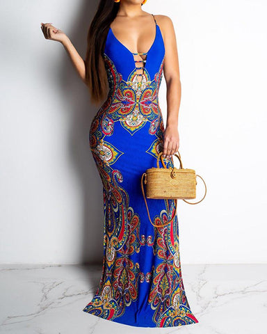 Floral Print Ethnic Camisole Dress