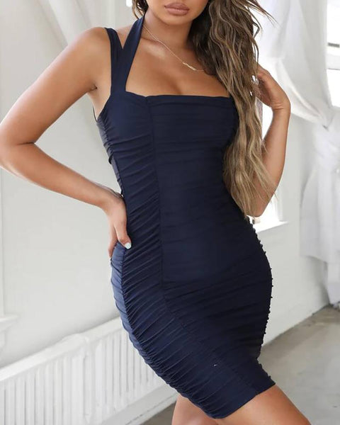 Spaghetti Strap Halter Ruched Bodycon Dress