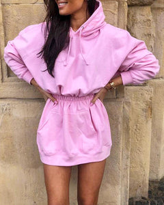 Hooded Smock Waist Mini Dress