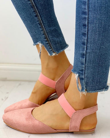 Suede Pointed Toe Slingback Flat Shoes