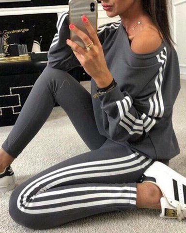 Striped Tape Long Sleeve Top &  Pants Set