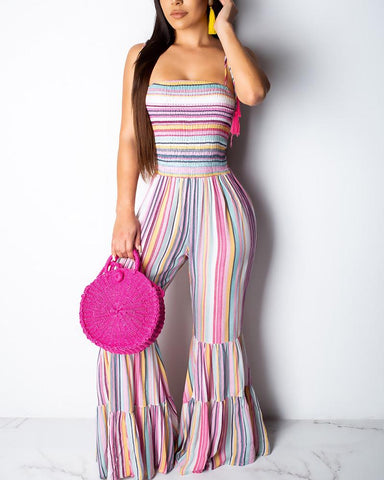 Colorful Stripes Shirring Bell-bottoms Jumpsuit