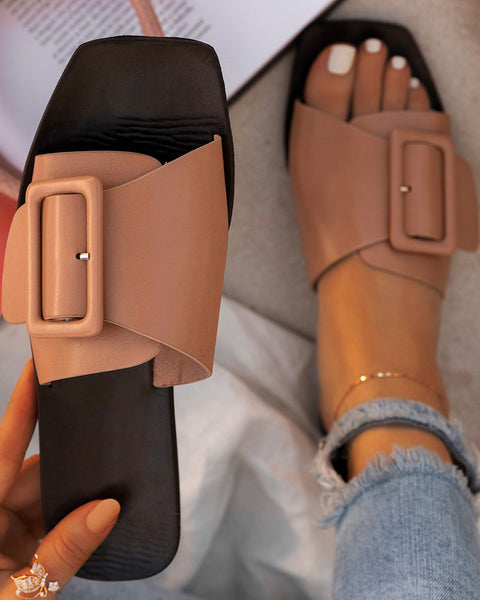 Solid One Buckle Upper Flat Sandals