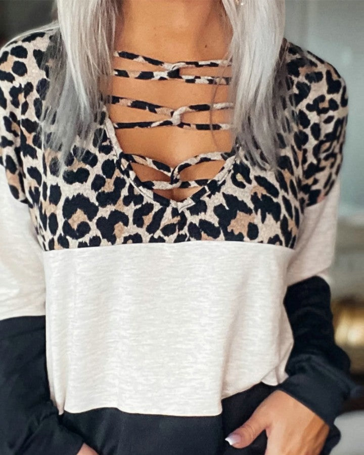Leopard Patchwork Long Sleeve Strappy Front T-shirts