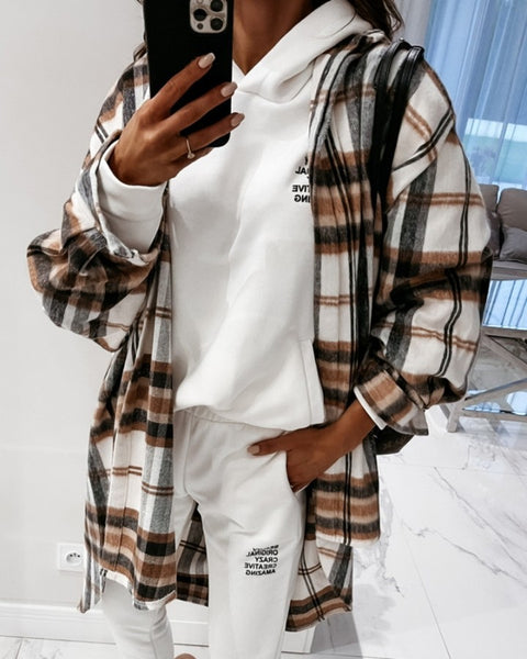 Button Design Side Slit Checked Shacket