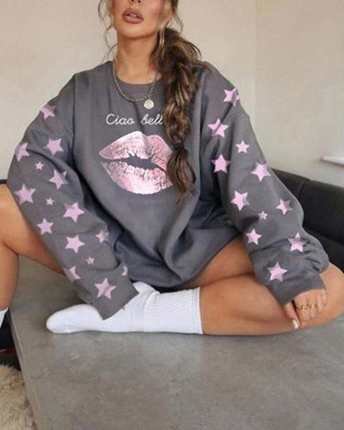 Lips Pritn Loose Long Sleeve Sweatshirts