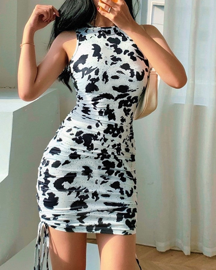 Cow Pattern Drawstring Ruched Mini Dress