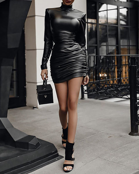 Plain Long Sleeve Ruched Bodycon Dress