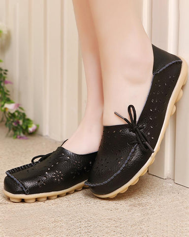 Low-top flat comfortable leather hole shoes