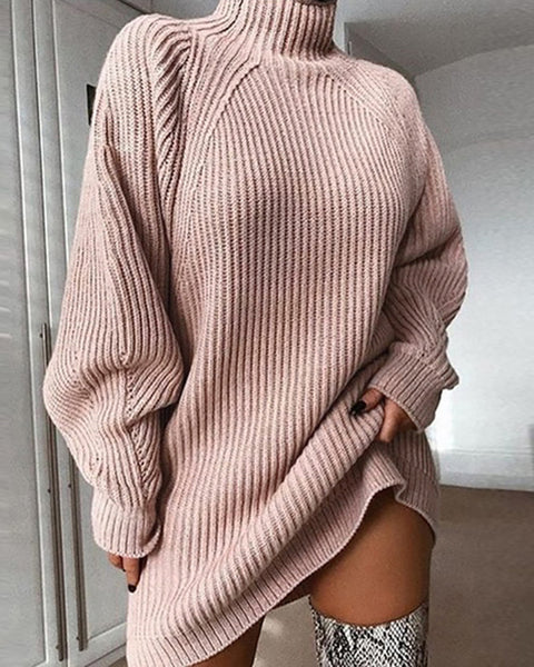 Knit High Neck Casual Sweater Dress